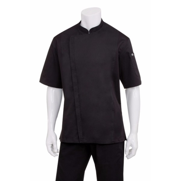 CANNES BLACK PRESS STUD CHEF JACKET - SSSN