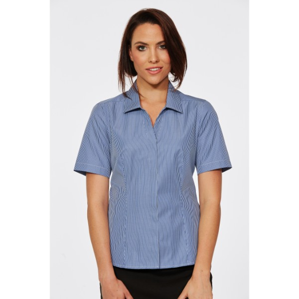 Corporate Reflection Classic Stripe Fitted Short Sleeve Blouse 6201S29 Navy