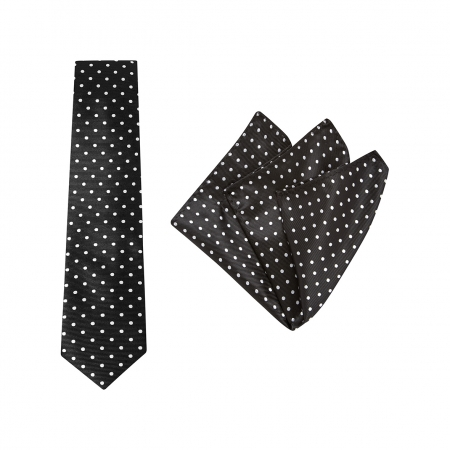 TIE + POCKET SQUARE SET, SPOT, BLACK