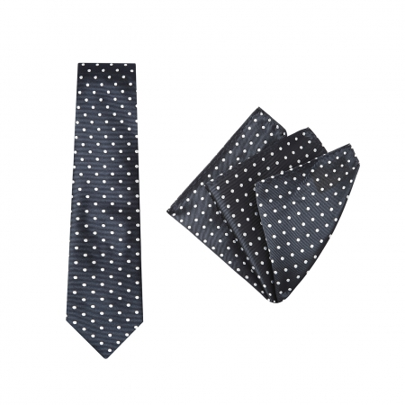 TIE + POCKET SQUARE SET, SPOT, NAVY