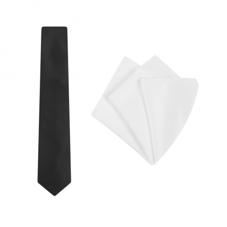 TIE + POCKET SQUARE SET, PLAIN, BLACK/WHITE